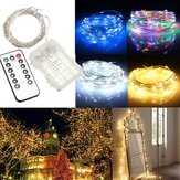 10M 100 LED Bateria prata operada Fio String Fairy Light Christmas + controlador remoto