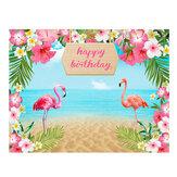 150x100cm 220X150cm Blumen Flamingo Meer Sand Strand Vinyl Hintergründe Studio Hintergrund Alles Gute zum Geburtstag Party Dekoration