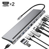 Bakeey 12 In 1 Triple Display USB Type-C Hub Docking Station Adapter With Dual 4K HDMI Display / 1080P VGA / 87W USB-C PD3.0 Power Delivery / USB-C Data Transfer Port / RJ45 Network Port / 3.5mm Audio Jack / 3 * USB 3.0 / Memory Card Readers