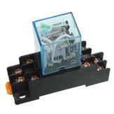 10 Set Coil Power Relay LY2NJ 12V DC DPDT 8 Pin HH62P JQX-13F With Socket Base