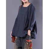 Women Vintage Long Sleeve Crewneck Plaid Loose Blouse