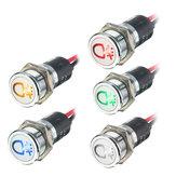 12v 14mm LED luz de advertência da lâmpada indicadora do painel de bordo