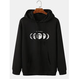 Mens Moon Graphic Printed Relaxed Fit hoodies met trekkoord