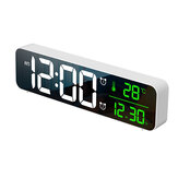 Loskii USB LED 3D Music Dual Alarm Clock Thermometer Temperatur Dato HD LED Display Elektronisk Desktop Digital Bordure