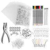 182Pcs Heat Shrink Plastic Sheets Kit Shrinky Art Paper Hole Punch Keychains DIY