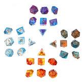 28Pcs Galaxy Concept Polyhedral Dice Acrylic Dices Jeu de rôle Table Board Game avec pochette