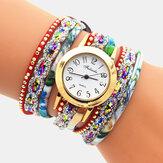Deffrun Vintage Colorful Impression Femmes Bracelet Montre Multi-couche Métal Strass PU Montre À Quartz