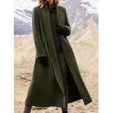 女性はポケット付きの暖かい無地のラペルロングラインコート