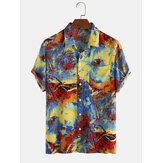 Mens Casual Landscape Printing Breathable Short Sleeve Shirts