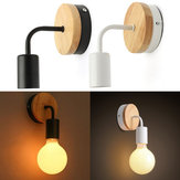 Modern White Black E27 Wall Lamp Fixture Sconce Holder Wood Base Cafe Home Decor