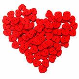 100pcs madeira coração vermelho em forma de costura botões artesanais diy roupas de bebê botão chapéu decoração de costura