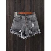 Pantaloncini di jeans svasati svasati da tasca con bottoni da donna