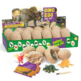 Gypsum & Plastic Fossil Diging Dinosaur Egg Excavation Set about Twelve Species of Dinosaur for Kids Toys