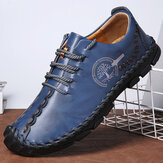 Men Cow Leather Hand Stitching Anti-Collision Toe Casual Shoes