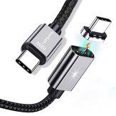 Twitch 100W PD magnétique Type-C à Type-C Nylon Câble de données tressé pour Samsung S20 Note 8 pour ordinateur portable Matebook