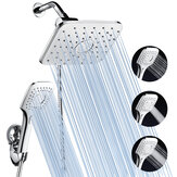 5-in-1 Rainfall Handheld Shower Head Combo 3 Level Adjustable Dual Square Hose