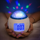 Night Light Projector LED Lamp Bedroom Digital Alarm Clock With Music for Kids