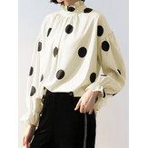 Frauen Polka Dot Laternenärmel Rüschen Casual Bluse
