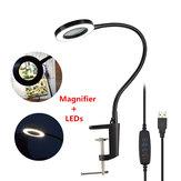 DANIU USB Magnifying Glass 3X Mesa Torno braçadeira Magnifier 42 SMD LED Luzes Lâmpada de mesa flexível