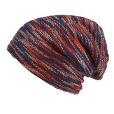 Men Stripe Knit Plus Velvet Lining Warm Beanies Hat