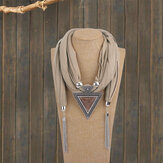 Bohemian Metal Geometric Triangle Resin Pendant Scarf Necklace Metal Chain Tassel Multi-layer Necklace