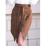 Saia de uma cor sólida de alta cintura de uma saia de linha A