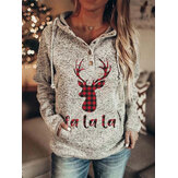 Women Christmas Elk Letter Print Raglan Sleeve Kangaroo Pocket Button Collar Hoodies
