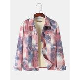 Jaqueta jeans vintage tie dye com vários bolsos lapela longa manga comprida masculina