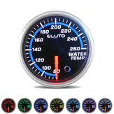 2Inch 52mm 80-260°F Water Temperature Gauge 7 Color LED Black Face Car Meter with Sensor