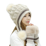 Women Double Layers Fleece Ski Caps Gloves Set