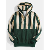 Mens Stripe Corduroy Patchwork Casual Pouch Pocket Button Henley Hoodies