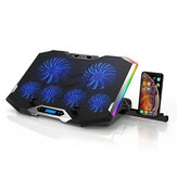 ICE COOREL Gaming Laptop Cooler RGB Cooling Pad Radiator USB 6 Fans Computer Stand with Mobile Phone Holder for Under 21
