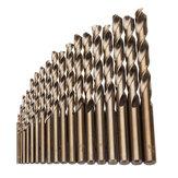 Drillpro 19pcs 1-10mm HSS M35 Jeu de forets hélicoïdaux en cobalt pour le forage du bois en métal