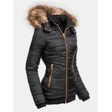 Женское однотонное пальто с капюшоном и воротником из искусственного меха на молнии с карманом