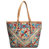 Brenice Women National Emossed Floral Tote Handbag Vintage Geometry Shopping Bag