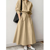 Women Solid Color Lace-Up Lapel Single-Breasted Long Sleeve Shirt Maxi Dress