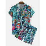 Banggood ontworpen heren grappige graffiti karakter cartoon print korte mouw causla shorts shirts