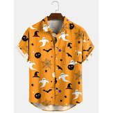 3 Color Halloween Cartoon Print Turn Down Collar Short Shirts