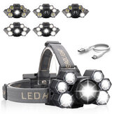 XANES 5-Modes 3xT6+4xLED Ultra Bright Mechanical Zoomable Headlamp Outdoor Camping Head Torch Hunting Warning Light