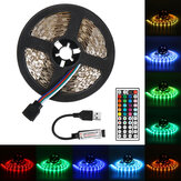 0.5 / 1/3 / 5M 5050 SMD RGB LED Strip Light Niet-waterdichte Binnenlamp Home Decor + 44 Key Afstandsbediening DC5V