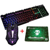 Colorful Arka Işık USB Kablolu Oyun Klavye 2400DPI LED Oyun Mouse Combo with Mouse Pad