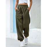 Women Casual Elastic High Waist Loose Sport Running Pocket Pants