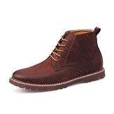 Men Simple Pure Color Comfy Microfiber Leather Slip Resistant Casual Ankle Boots