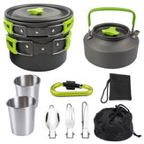 9PCS Ultra-light Aluminum Alloy Camping Cookware Utensils Outdoor Picnic Cooking Set Tableware + Kettle + Pot + Frying Pan + Cups