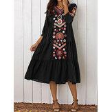 Этнический Женское V-образный вырез Длинный рукав с цветочным принтом Праздничное богемное макси со складками Платье