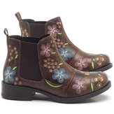Women Retro Floral Embroidery Comfy Wearable Chelsea Ankle Boots