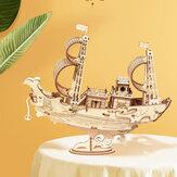 Robotime TG307 Communication Boat 3D Puzzle DIY Hand-assembled Wooden Sailing Model Toy