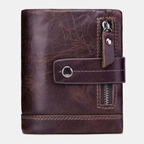 Men Genuine Leather Vintage Wallet Zipper Coin Bag Card Holder