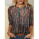 Original              Women Multi-Color Striped Glitter Printed Long Sleeve O-Neck Blouse