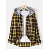 Herren Classic Plaid Langarm Button Up Pocket Hooded Shirts